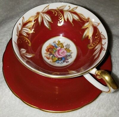 AYNSLEY-ENGLAND-HANDPAINTED  CUP and SAUCER with PINK ROSEs and GOLD