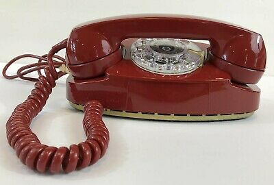 Vintage Western Electric Rotary Red with Gold Base Princess Phone Unused #702B