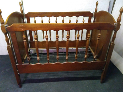 Antique cot hardwood and spring base drop sided