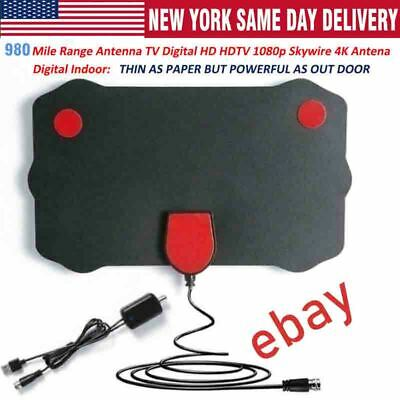 TV Antenna Digital HD TV Amplified Mile Ultra Thin 980 Miles Range Indoor 1080P