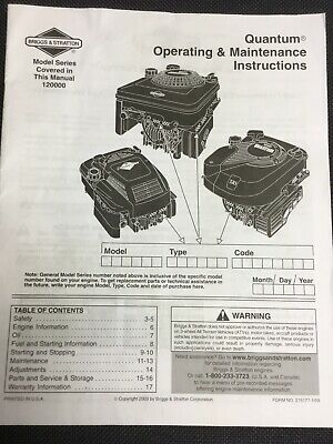 Briggs & Stratton Operating Maintenance Instructions Quantum Series Engines