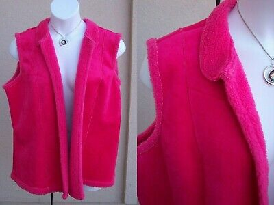 Coldwater Creek faux sheepskin sherpa fleece vest plus size 2x hot pink fuchsia