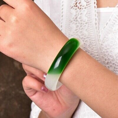 Chinese Green Jade Hand Carved Bracelet AAA Wide Version Bangle 58mm-64mm