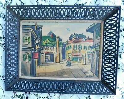 Vintage Mid Century John R Good French Print In Metal Lattice Frame