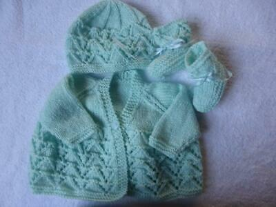 Gorgeous Hand Knitted Baby Jacket Hat and Booties - Newborn to 3 months