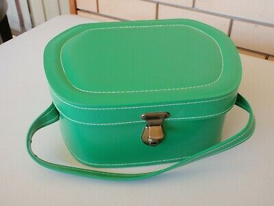 Retro Green Vinyl Beauty Makeup Travel Case  - Decor Display Prop - With Flaws