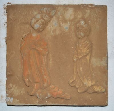 China Tang Tomb Burial Wall Painting Clay Fired Pottery Mural Brick Lady Statue