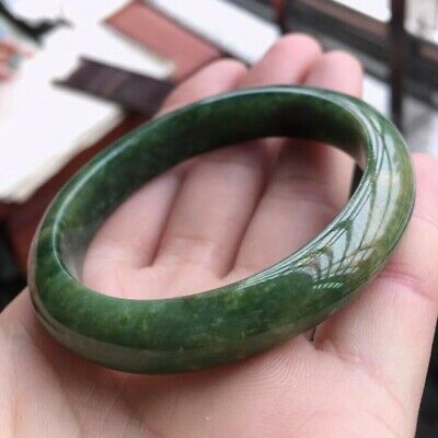 Chinese Green Jade Hand-Carved Bracelet AAA Beautiful Bangle 54mm-64mm