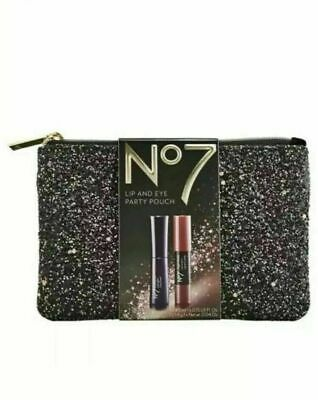 No7 Lip and Eye Party Pouch, Includes Waterproof Mascara & High Shine Lip Crayon