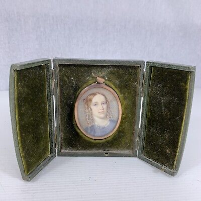 Fine Antique Portrait Miniature Of A Young Lady In A Dress Green Leather Case