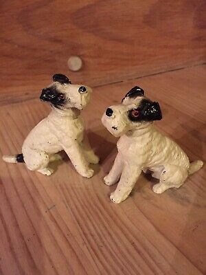 Old Pair Of Cast Metal Painted Dogs