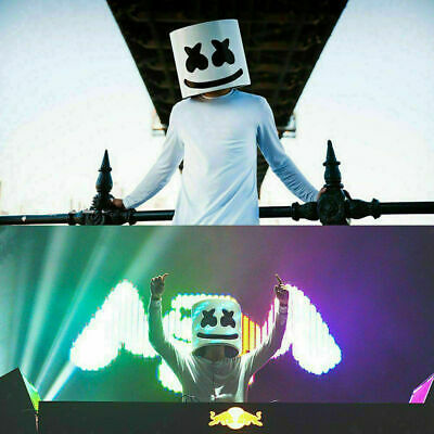 MarshMello DJ Mask Full Head Helmet Halloween Bar Cosplay Mask Music Marshmallow