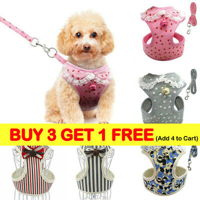 Soft Mesh Lace Small Dog Harness Step-in Puppy Harness Leash Pet Jacket_Vest