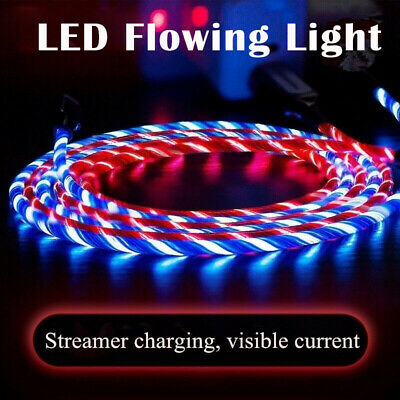LED Flowing Light up TypeC/Lightning/Micro USB Charging Cable for iPhone Android