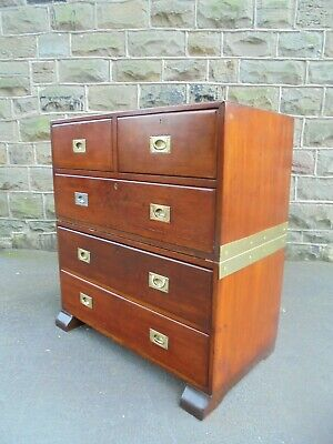 Antique Mahogany & Brass Military Campaign Chest