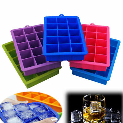 15 Grid Large Cube Ice Pudding Jelly Maker Mold Mould Tray Silicone DIY Tool