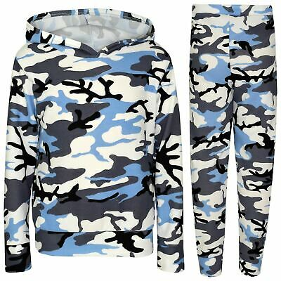 Kids Girls Tracksuit Camouflage Blue Hooded Top & Legging Loungewear Outfit Sets