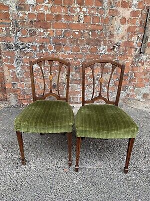 Pair Of Antique Edwardian Inlaid Mahogany Dining Chairs - Occasional Side Chairs