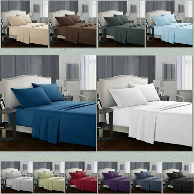 Deep Pocket Bed Sheets Set 3/4 Pieces Flat Fitted Double Single Queen King Size