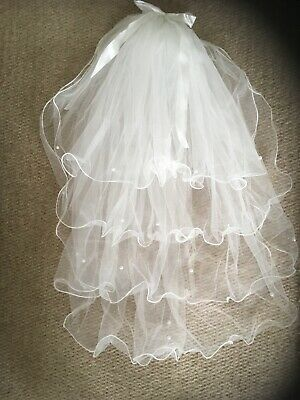 White Wedding Veil . 4 Tier With Ribbons And Pearls . On A Comb
