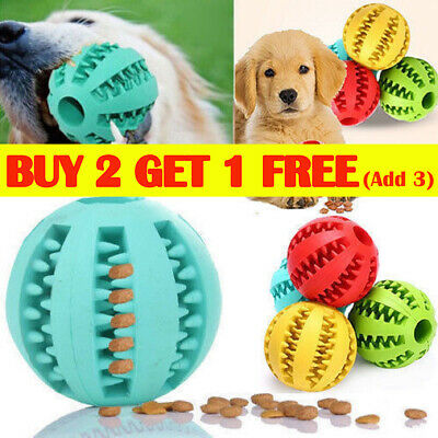 Durable Rubber Ball Chew Pet Dog Puppy Teething Dental Healthy Treat Clean Toy Z