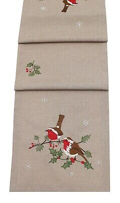 Robin Friends Embroidered Christmas Table Linen and Soft Furnishings