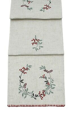 Rustic Berries Embroidered Christmas Table Linen and Soft Furnishings
