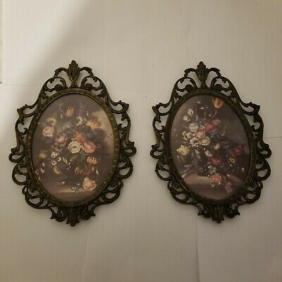 2 10x7 Frame Brass Ornate Convex Glass Made In Italy Vintage Oval Floral Picture