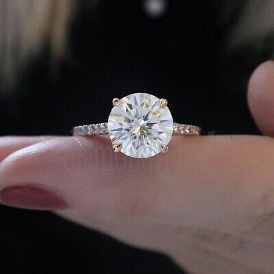 1.47 Ct Near White Round Cut Moissanite Yellow Gold Over Engagement Wedding Ring