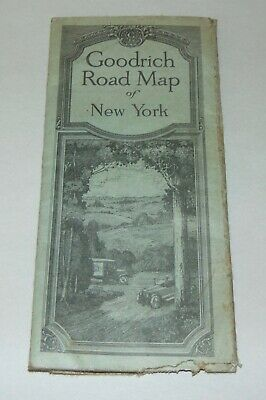 Antique 1920 GOODRICH ROAD MAP OF NEW YORK