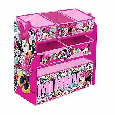 Disney Minnie Mouse Children's Toy Storage Unit Box Organiser Wooden Multi Tray