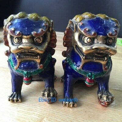 A Pair Old Handmade and exquisite Chinese Cloisonne Copper Statue - Lion Foo Dog