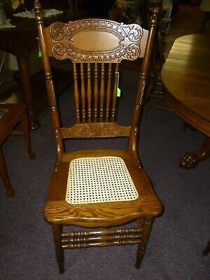 Antique Chair Oak Larkin #1  1908 refinished , restored cane seat #2