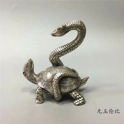 Chinese collection old Tibetan silver hand carved Snake turtle Statue