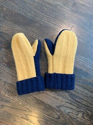 Wool women winter mittens, one size, fleece lined Gold And Blue Notre Dame.