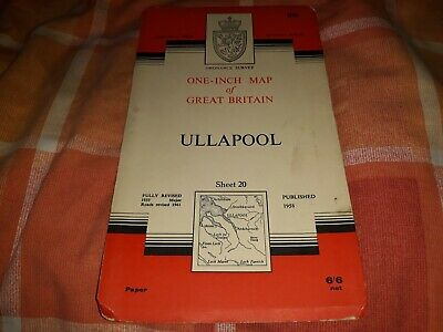 1962 Vintage OS Ordnance Survey One-Inch Seventh Series Map 20 Ullapool - Paper