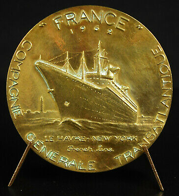 Médaille Paquebot le France Le Havre New York USA ship French Lines 1962 medal