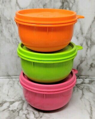 Tupperware  Ideal Snack  Bowl 8oz. Container Set 3 New