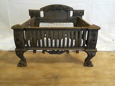 Antique Vintage Cast Iron Fireplace Insert Fire Box Log Basket Grate