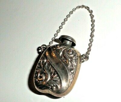 Antique Sterling Silver Repose Chatelaine Pendant Perfume Bottle Screw Cap