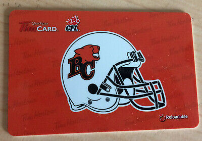 2012 BC LIONS (CFL football) collectible Tim Hortons gift card ($0 value)