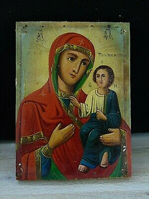 Antique 19th Russian Hand Painted Wood Orthodox Icon Mother of God Tikhvinskaja