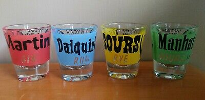 VTG FEDERAL GLASS USA  LOT 4 Rumpus DRINK RECIPE Shot Glass Barware Mid Century