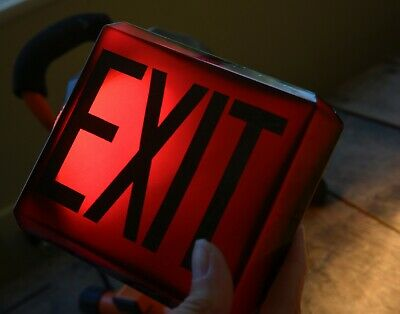 Nice Vintage Art Deco Glass Exit Sign - Ruby Red Cranberry Glass W/dark Letters