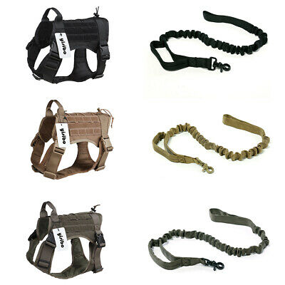 K9 Tactical Service Dog Harness Military Patrol Vest W/Handle Patches Dog Leash