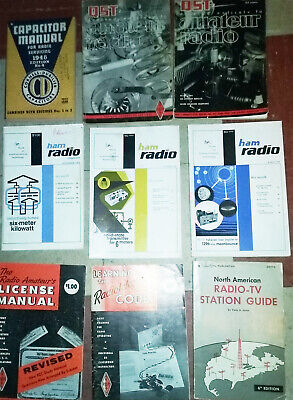 vintage ham amateur radio books lot of 9 QST 73 ARRL short wave etc.