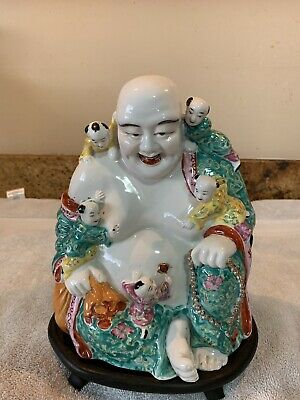 OLD LARGE CHINESE PORCELAIN FAMILLE ROSE BUDDHA w/CHILDREN MARKED w/stand