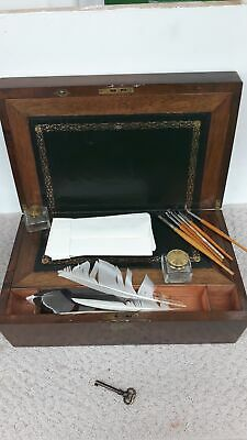 Lovely Vintage Wooden Stationary/Keepsakes Box with Pens and Quills #573