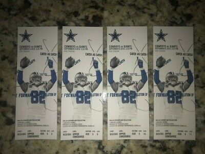 Dallas Cowboys vs New York Giants 4 Tickets side by side Sept. 8th @ 3:25