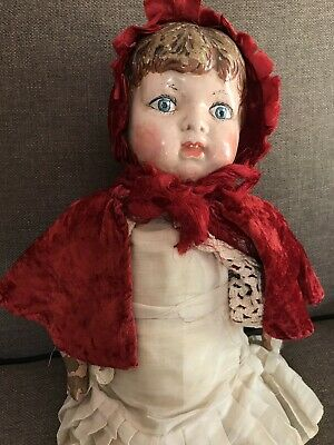 Antique Composition Red Riding Hood Doll